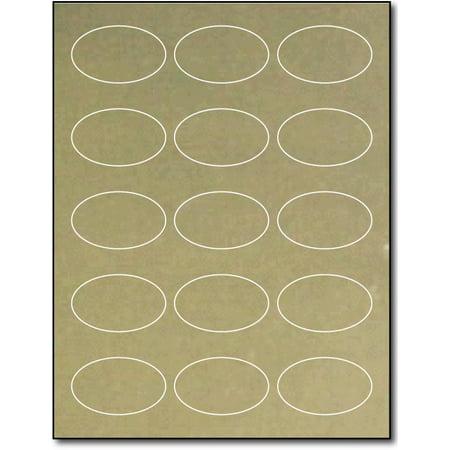 "Gold Foil 1 7/16"" x 2 3/8"" Oval Labels for Laser Printers - 10 Sheets / 150 Labels"