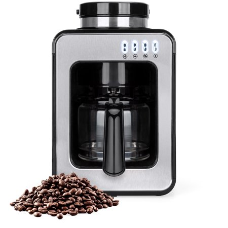 Best Choice Products 600W 4-Cup Automatic Kitchen Coffee Maker for Whole Beans or Ground Coffee with Built-In Grinder, 2 Intensity Levels, Glass Pot, Auto Drip, Warm Plate, Scoop,