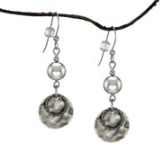 Jewelry by Dawn  Silver Crystal Pearl and Hammered Pewter Drop Earrings