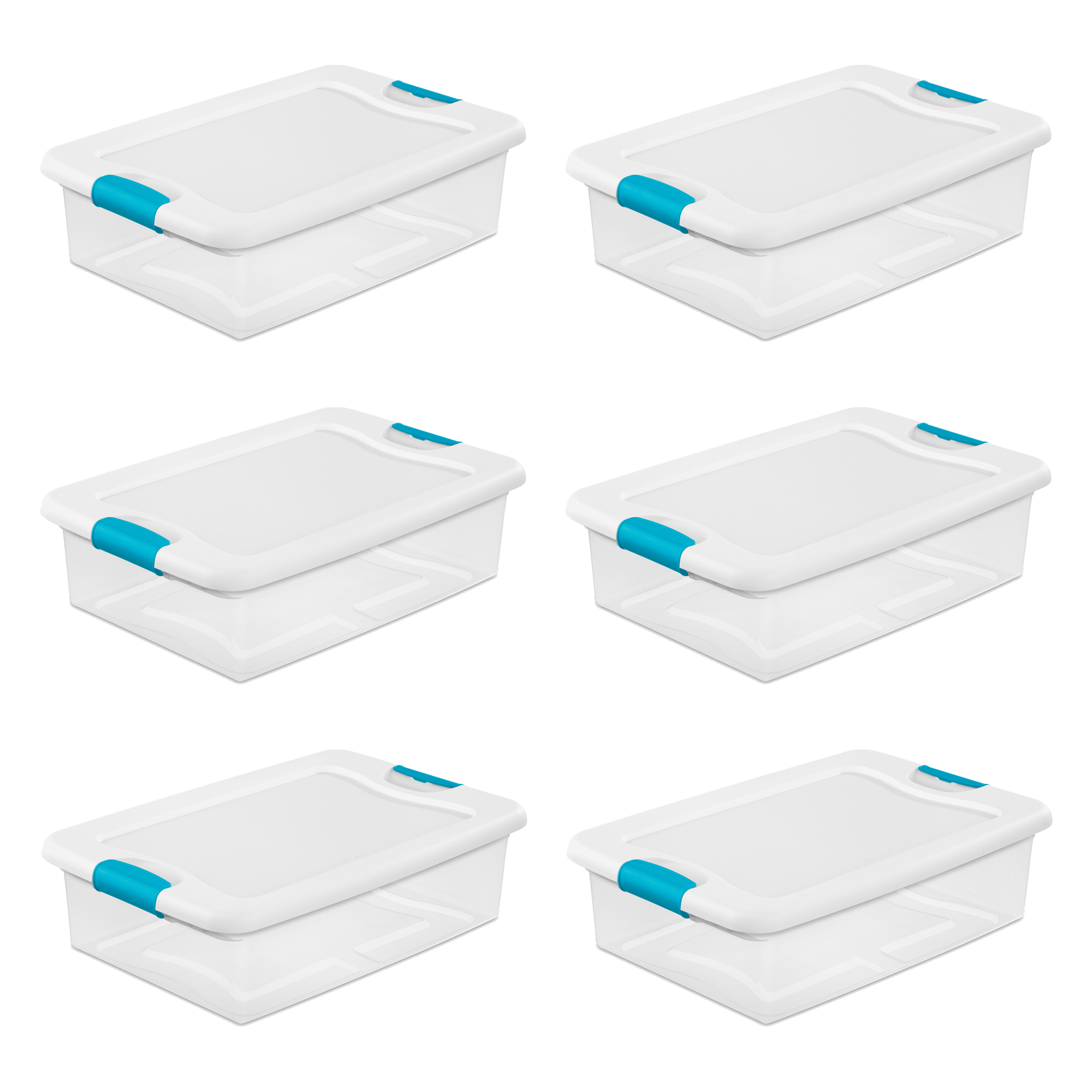 Sterilite 32-Quart Clear Stackable Latching Storage Box Container, 6 Pack | 1496