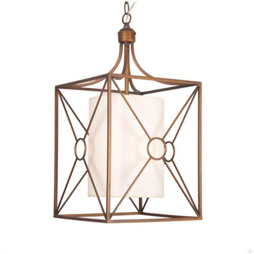 The Lighting Store Josie Antique Copper Iron Chandelier with Fabric Shade