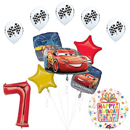 Cars 3 Lighting McQueen 7th Birthday Party Supplies and Balloon Decorations - Lightning Mcqueen Balloons