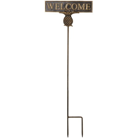 San Pacific Pineapple Welcome Garden Sign One Size Brown/gold Pineapple Welcome Address Plaque