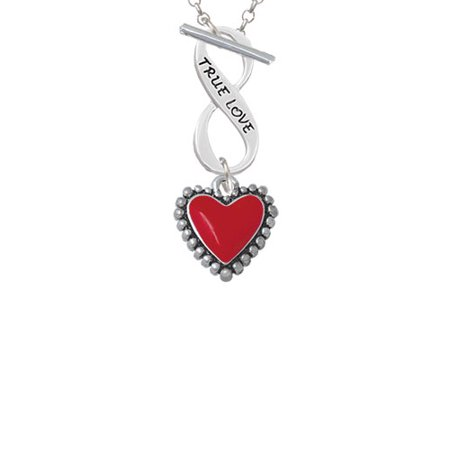 Red Heart with Beaded Border True Love Infinity Toggle Chain Necklace