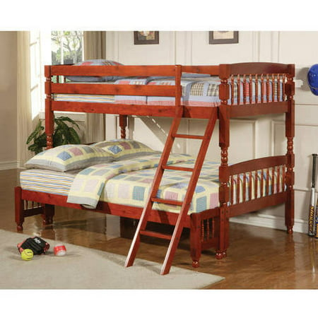 Coaster Twin Over Full Wood Bunk Bed, Amber Red Finish