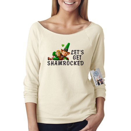 St Patricks Day Lets Get Shamrocked Shirt Off The Shoulder French Terry Top