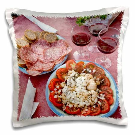 3dRose Italy, Positano, Cuisines, Antipasti and wine - EU16 BJA0308 - Jaynes Gallery - Pillow Case, 16 by (Gallery Wine)