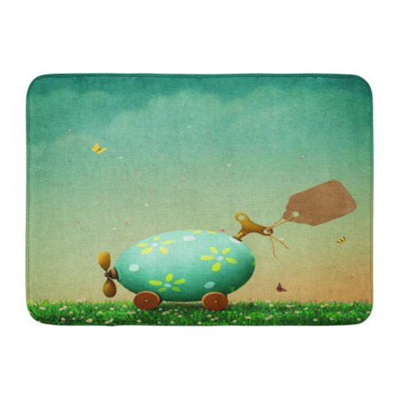 GODPOK Green Butterfly Blue Sky Holiday Easter with Car Egg and Vintage Tag Colorful Spring Cartoon Rug Doormat Bath Mat 23.6x15.7 inch