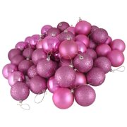 """24ct Orchid Pink 4-Finish Shatterproof Christmas Ball Ornaments 2.5"""" (60mm)"""