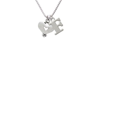 Silvertone Large Heart With Cutout Capital Initial F Necklace