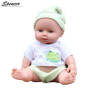 """Spencer 12"""" 30CM Mini Lifelike Newborn Silicone Vinyl Reborn Baby Doll Handmade Lovely Dolls Xmas Gift """"Green"""""""