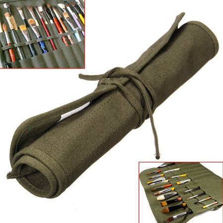 Roll Up Travel Canvas Oil Paint Brush Pencil Storage Organizer Bag For Art Supplies Watercolor Draw Pen Case Holder