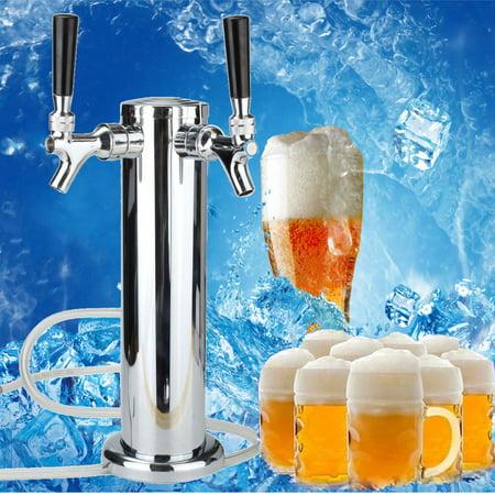 Drinking Vessels Chrome Mirror Polished Double Gun Pump beveragedispenser Filter Stainless Steel Tower Beer Tap Duel Faucet Draft Dispenser Beverage hine