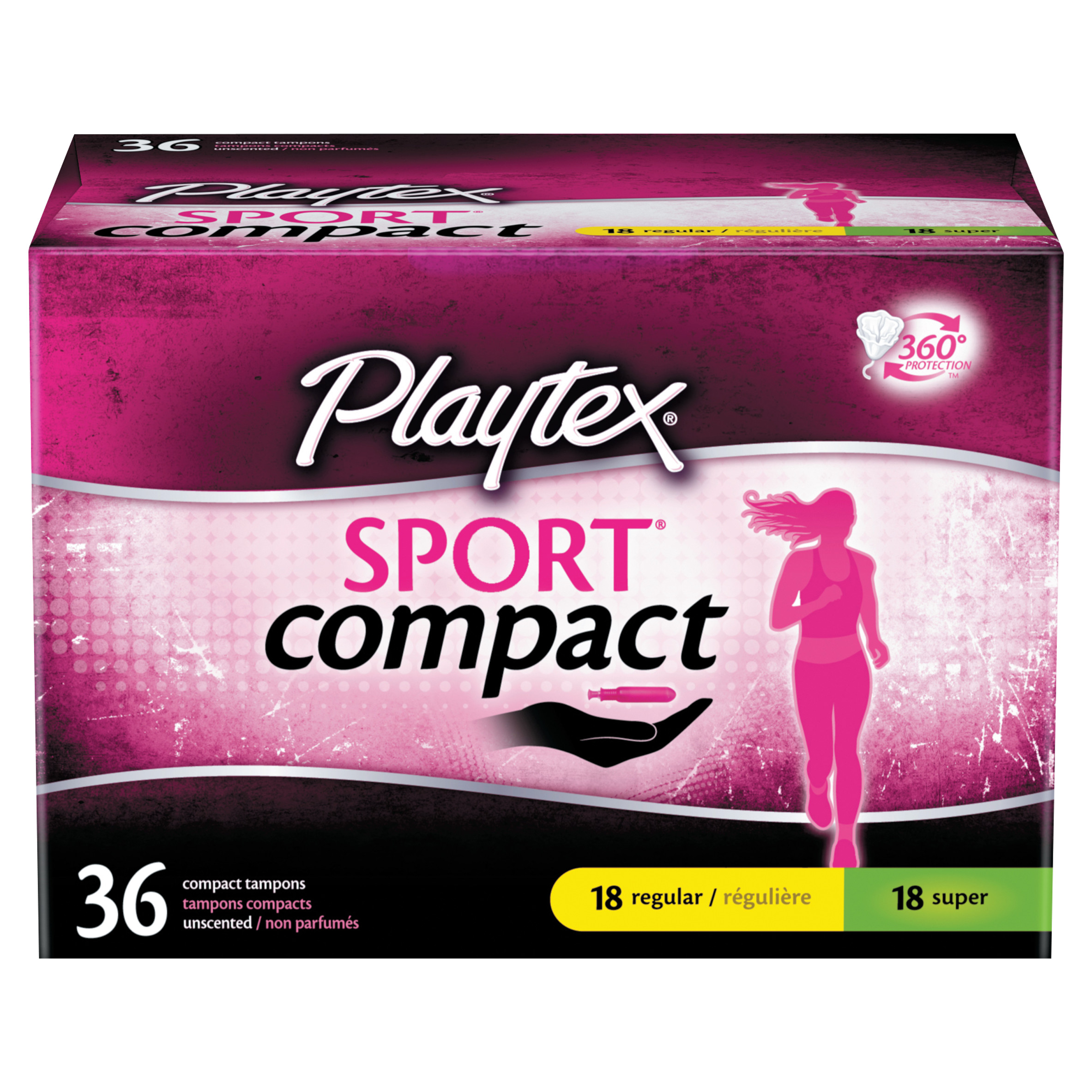 Playtex Sport Compact Tampons Multi-Pack 18 Regular and 18 Super - 36 Count