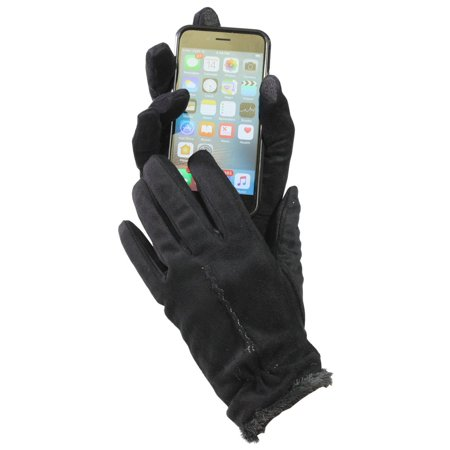 Black Suede Gloves - Isotoner Women's Touch Screen Faux Suede Microluxe Lined Gloves Black Large