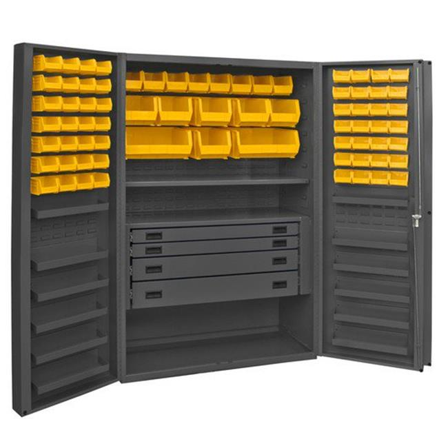 14 Gauge 12 Door Shelves Lockable Cabinet with 72 Yellow Hook on Bins & 1 Adjustable Shelf & 4 Drawers, Gray - 48 x 24 x 72 in.