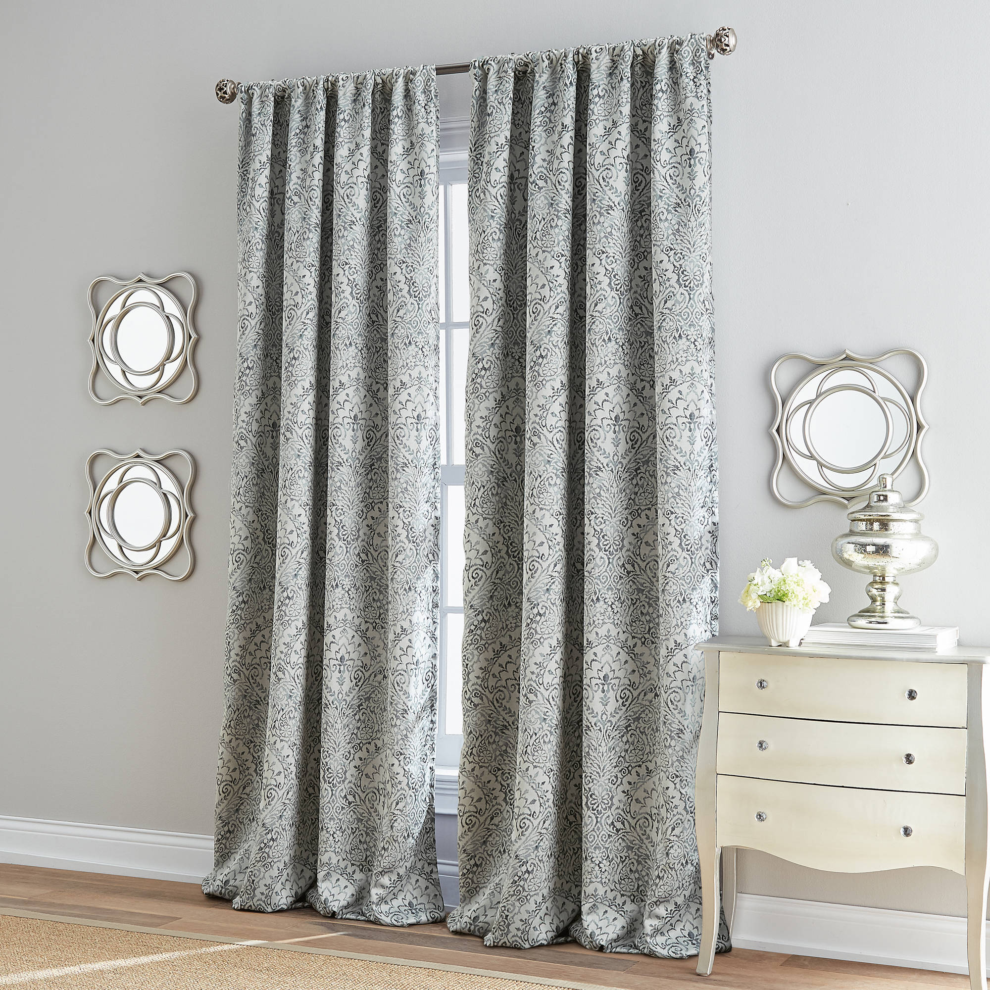 Damask Marlena Poletop Lined Room Darkening Curtain