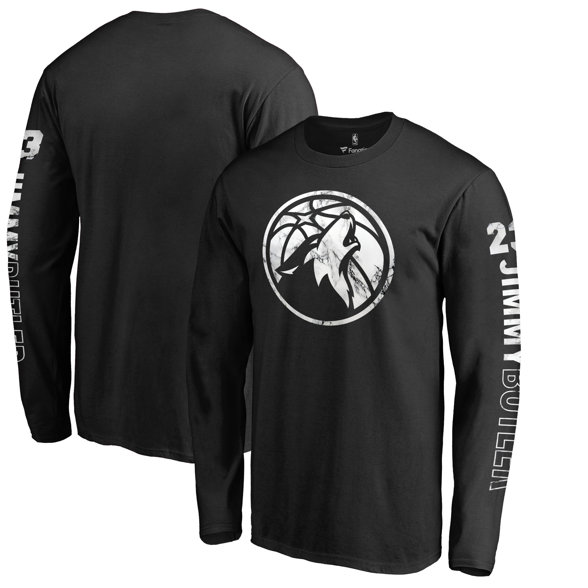 Jimmy Butler Minnesota Timberwolves Fanatics Branded Marble Assist Name & Number Long Sleeve T-Shirt - Black