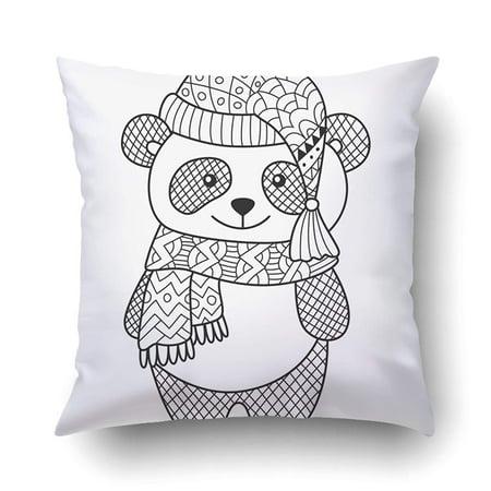 ARTJIA Anti Stress Doodle Coloring Page Adorable Panda Cushion ...