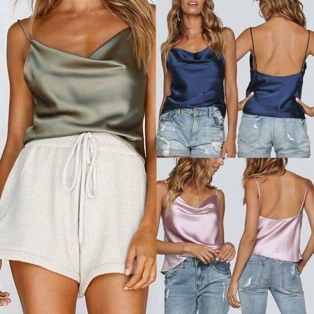 Multitrust Sexy Women's Silk Satin Camisole Cami Strappy Vest Tops Sleeveless Blouse Tank (Satin Shirt Top)