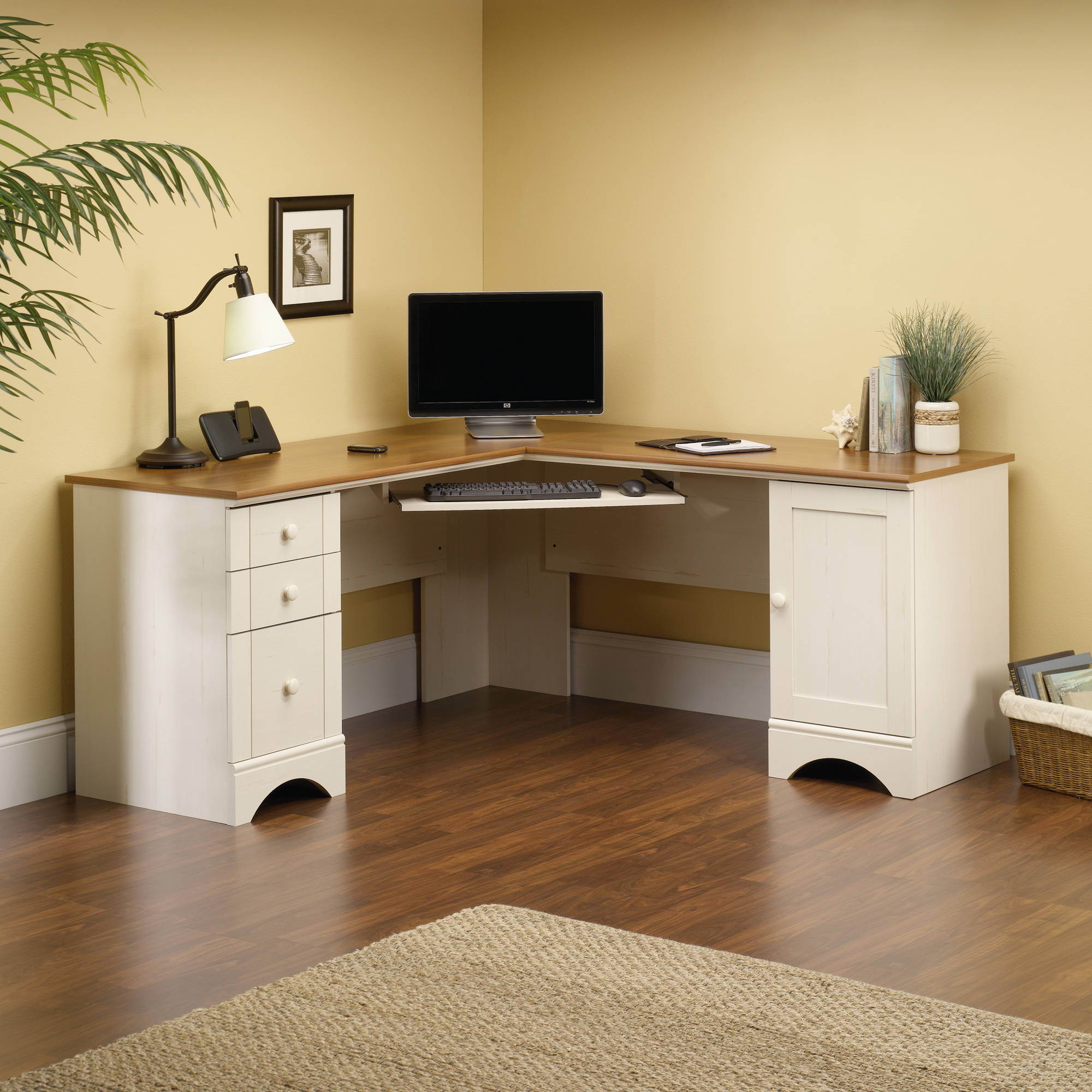 sauder harbor view corner computer desk antiqued paint finish walmartcom