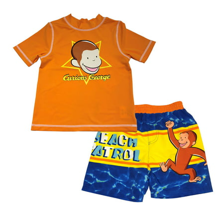 fc2e60b13a Curious George - Toddler Boy Rashguard Top & Swim Trunks, 2pc Set ...