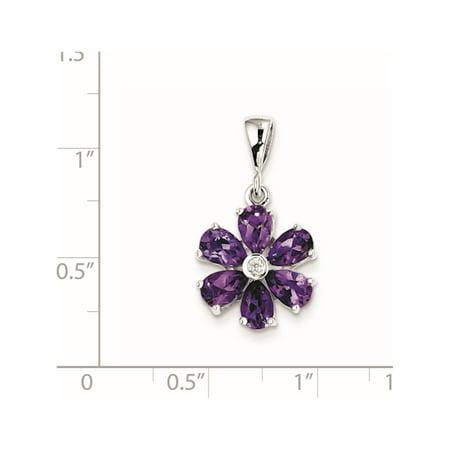 925 Sterling Silver Rhodium Amethyst & Diamond Flower (14x25mm) Pendant / Charm - image 1 of 2