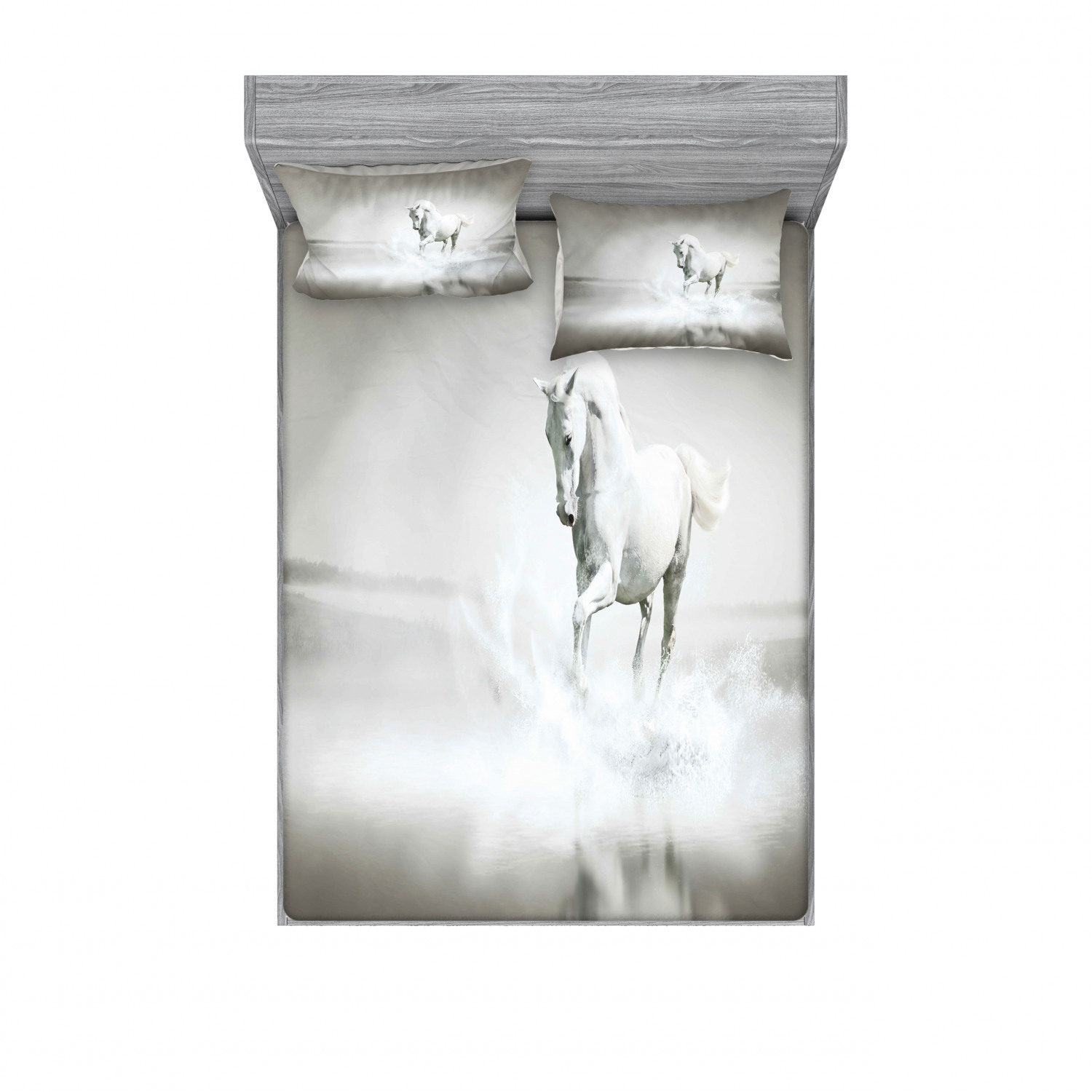 Horses Bedding Set With Sheet Covers Wild Horse Running Through Water Dramatic For The Motivation Of Life Art Printed Bedroom Decor 2 Shams 4 Sizes Black And White By Ambesonne
