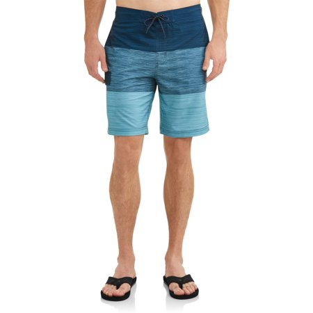 Simply Swim Mens Clothing - Men's Text Color Block Eboard 9-Inch Swim Short , up to size 5XL