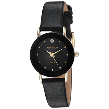 Black Leather Diamond Watch (Women's 75/2447BLK Diamond-Accented Watch with Black Leather Band)