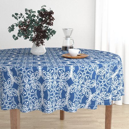 Round Tablecloth Paisley Blue And White Bandana Navy White Third Cotton Sateen