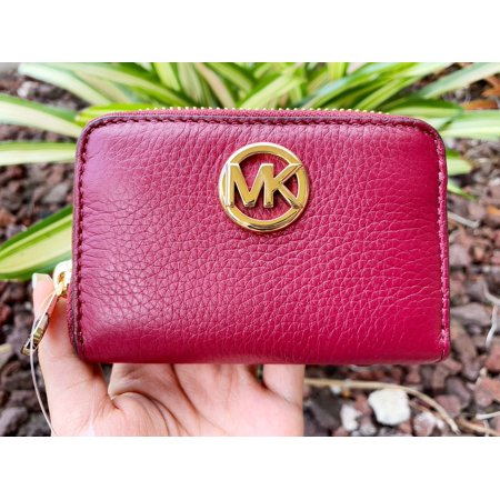 - Michael Kors Fulton Coin Case Small Wallet Mulberry Burgundy Pebble Leather