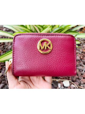 af081673b5 Product Image Michael Kors Fulton Coin Case Small Wallet Mulberry Burgundy  Pebble Leather