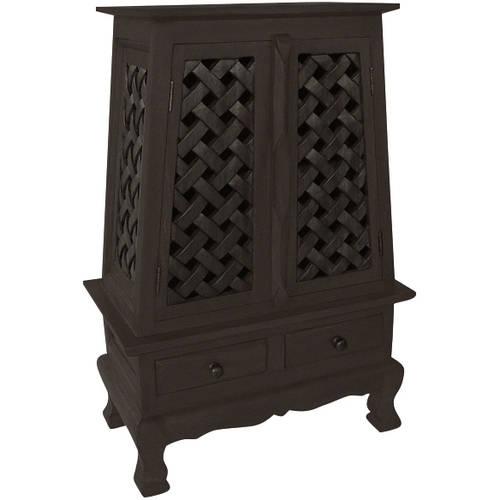 AsiaEXP Handcarved Acacia Wood Storage Cabinet/End Table, Elegant Lattice Design