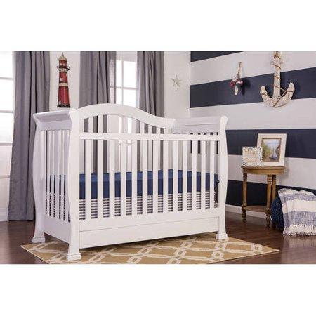 Dream On Me Addison 5 In 1 Convertible Crib With Storage Drawer  White