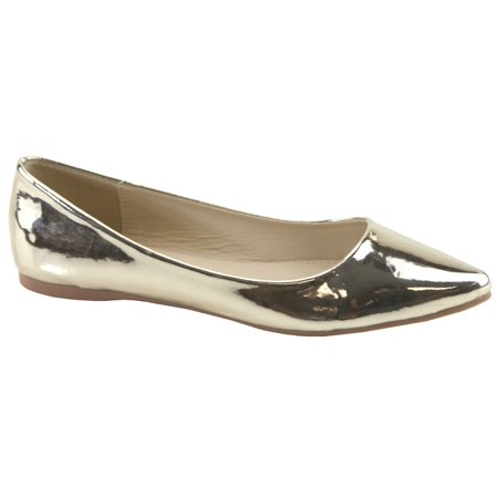 Bella Marie Womens Angie-18 Classic Gold Slip-on Pointy Toe Ballet Flat Shoes Ballet Classic Flats
