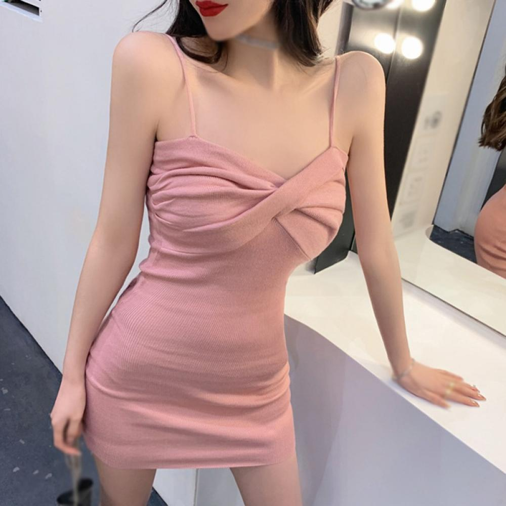 Women's Dress Fashion Sexy Spring Summer Korean Style All Match Slim Thin  Cross Design Tight Skirt Sling Dresses