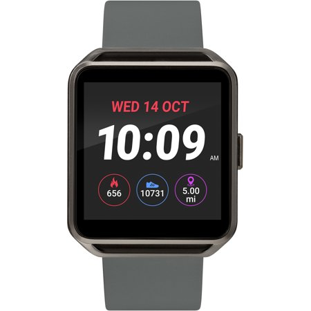 UPC 194366000047 product image for iConnect by Timex Gunmetal Square Touchscreen Smartwatch, Gray Silicone Strap | upcitemdb.com