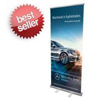 "Signworld 33"" Retractable Roll Up Banner Stand Display - Great for Trade Shows or Business Advertising!"