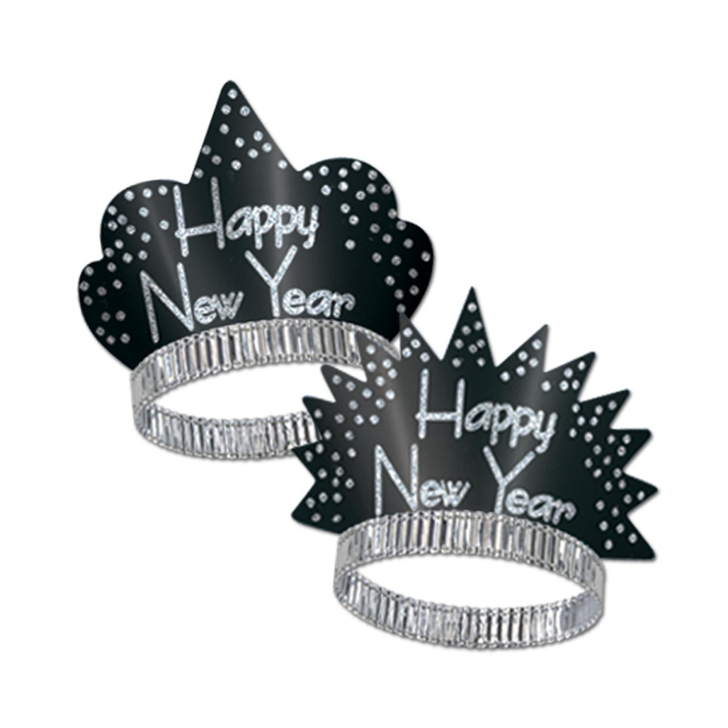 "Club Pack of 50 Sparkling Silver ""Happy New Years"" Legacy Party Favor Tiaras"