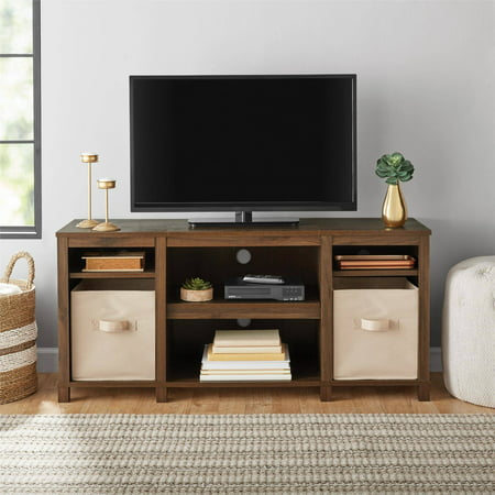 "Modern Wood Finish Tv Stand (Mainstays Parsons Cubby TV Stand, for TVs up to 50"", Multiple)"