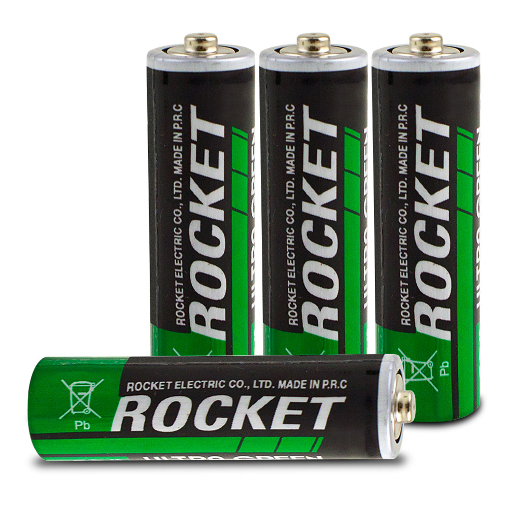Rocket AA Ultra Green Heavy Duty Dry Batteries - 4 Pack