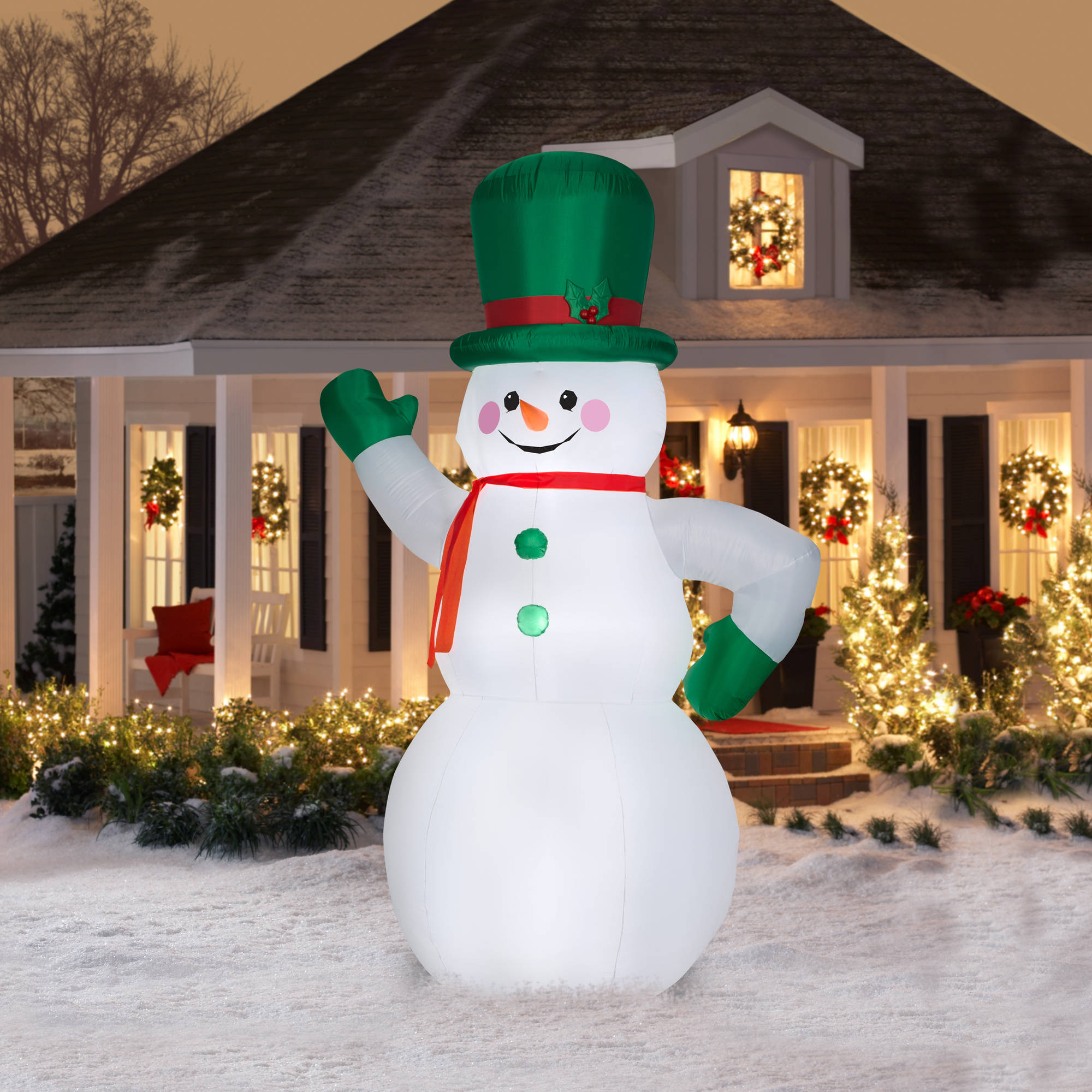 Gemmy airblown christmas inflatables 10 green snowman walmart mozeypictures Image collections