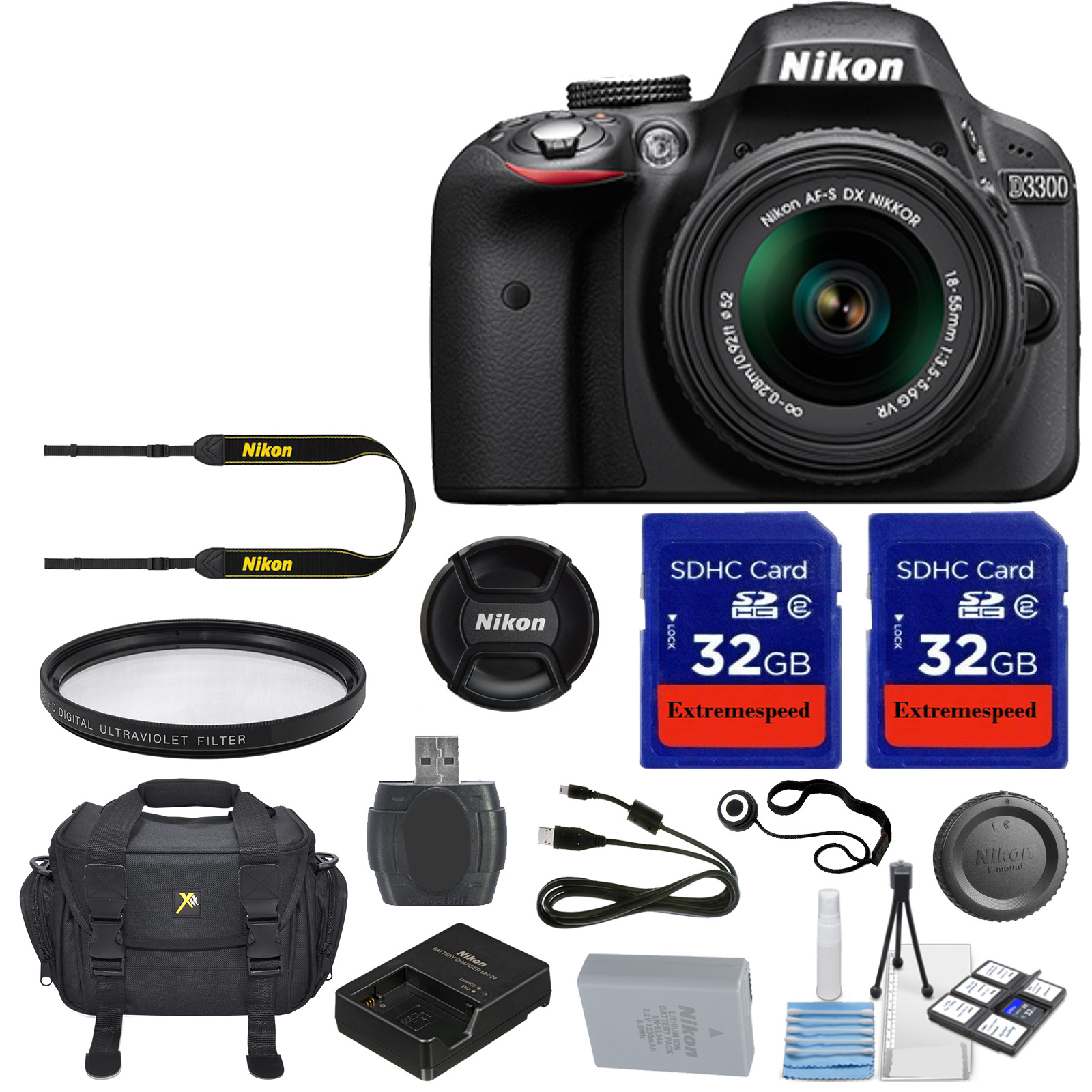 Nikon D3300 DSLR Digital SLR Camera Body + 18-55mm VR Lens + 2 Pieces 32GB  High Speed SDHC Memory Cards + 52mm High Definition UV Filter and More