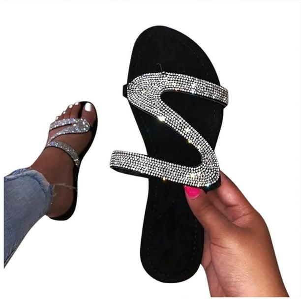 Details about  /Rhinestone Slide Sandals Comfort Mules Vintage Plus Sz Slippers Black Flat Shoes