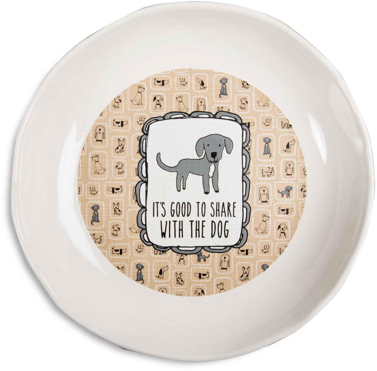 "Pavilion - ""Its Good To Share With The Dog"" Shallow 2 Inch Tall Ceramic Dog Food and Water Dish"
