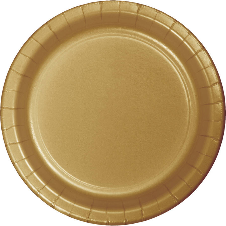 Glittering Gold Paper Banquet Plates, 24-Pack