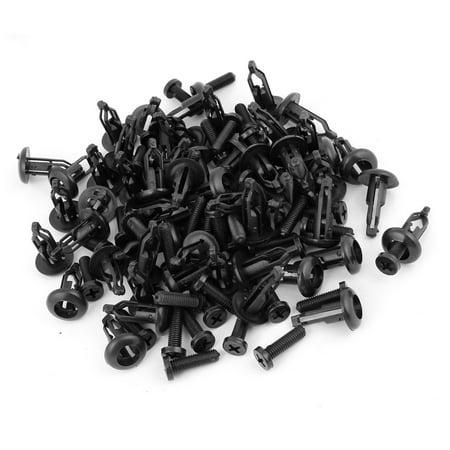 Unique Bargains 50 Pieces Car Black Plastic Bumper Clips Panel Fastener Trim Clip Replacement