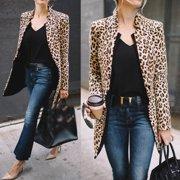 Leopard Jacket Women Sweater Top Warm Casual Winter Cardigan Long Sleeve Coat