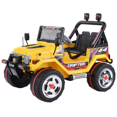 Costway 12V Mp3 Kids Raptor Jeep Truck Rc Ride On Car W  Double Motors Yellow